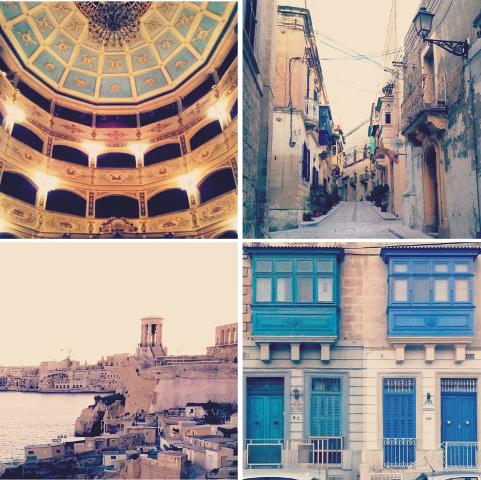 1- Manoel Theatre, o terceiro teatro mais antigo da Europa. 2 - Rua de Vittoriosa, uma antiga cidade fortificada ao sul do Grand Harbour de Malta. 3 - Uma das vistas de Valletta,  a capital . 4 - A típica arquitetura maltesa.