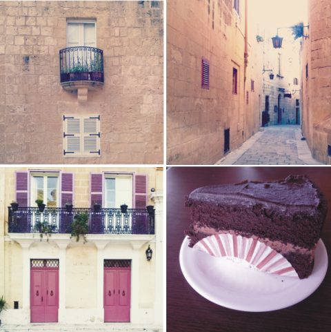 Portas e janelas da Mdina. Uma de suas ruazinhas e a incrível torta de chocolate do café Fontanella.